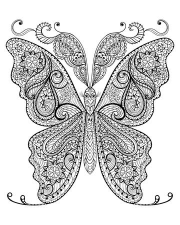mariposa caricatura: Dibujado a mano mariposa mágica para adultos anti-estrés para colorear con detalles altos aislados sobre fondo blanco, ilustración en estilo del zentangle. Ilustración monocromática del dibujo. Colección de la naturaleza.