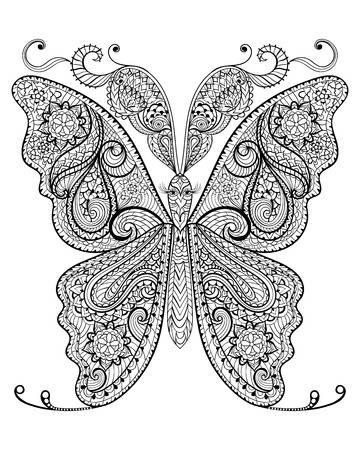 butterfly flower: Hand drawn magic butterfly  for adult anti stress Coloring Page with high details isolated on white background, illustration in zentangle style. Vector monochrome sketch. Nature collection.