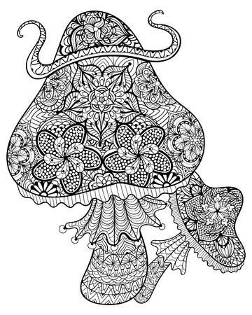 hongo: Dibujado a mano setas mágicas para adultos anti-estrés para colorear con detalles altos aislados sobre fondo blanco, ilustración en estilo del zentangle. Ilustración monocromática del dibujo. Colección de la naturaleza.