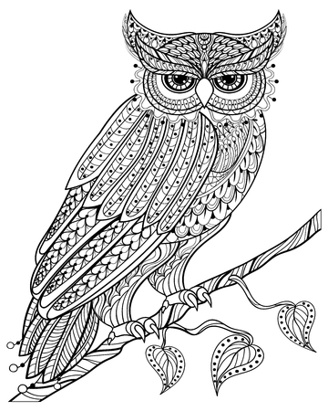 colouring: Hand drawn magic Owl sitting on branch for adult anti stress Coloring Page with high details isolated on white background, illustration in zentangle style. Vector monochrome sketch. Bird collection.