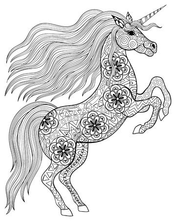 손 zentangle 스타일의 그림 흰색 배경에 고립 된 높은 세부 성인 안티 스트레스 색칠 페이지에 대한 마법의 유니콘을 그려. 벡터 흑백 스케치. 동물 컬렉