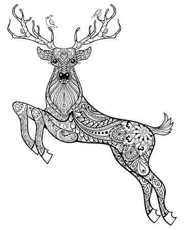 venado: Dibujado a mano ciervos cuernos magia con aves para adultos anti-estrés para colorear con detalles altos aislados sobre fondo blanco, ilustración en estilo del zentangle. Ilustración monocromática del dibujo. Colección animal. Vectores