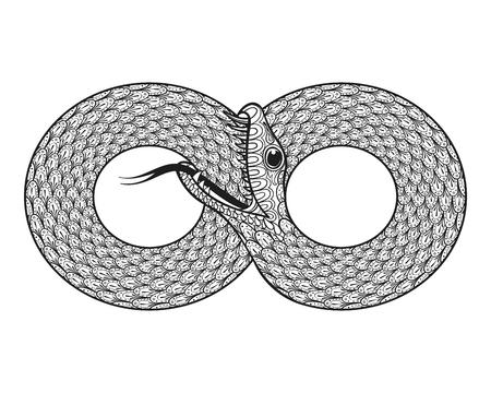 Vector ornamental de la serpiente, étnica zentangled Ouroboros, animales dibujos de las páginas para adultos anti estrés colorear. signo de la vida eterna. Mano infinito dibujado en el estilo de dibujo. Totem ilustración aislado en el fondo. Ilustración de vector