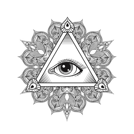 Vector All seeing eye pyramid symbol. Tattoo design. Vintage hand drawn freedom, spiritual, occultism and mason sign in doodle style.  Eye of providence  with mandala. 일러스트