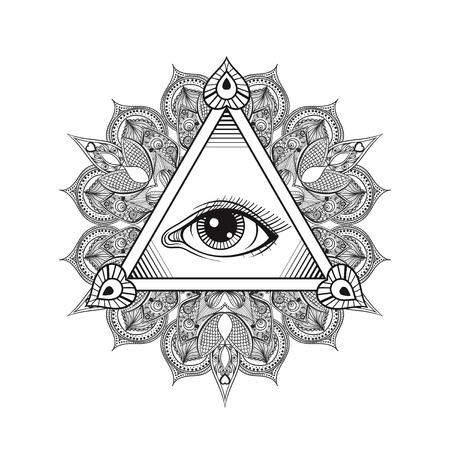 Vettore Tutto vedendo simbolo piramide occhio. Disegno del tatuaggio. mano Vintage disegnato libertà, spirituale, l'occultismo e il segno muratore in stile Doodle. Eye of Providence con mandala.