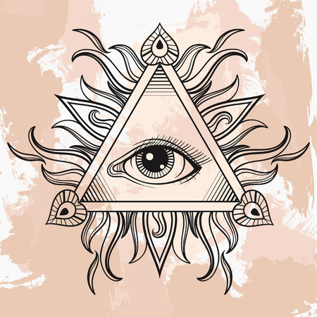 new world order: Vector All seeing eye pyramid symbol. Illumination tattoo. Vintage hand drawn freedom, spiritual, occultism and mason sign in doodle style.  Eye of providence illustration on grunge background.