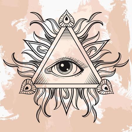Vector Todo viendo símbolo de la pirámide del ojo. tatuaje de la iluminación. dibujado mano Vintage libertad, espiritual, el ocultismo y el signo de albañil en el estilo de dibujo. Ojo de la ilustración de la providencia en el fondo del grunge. Ilustración de vector