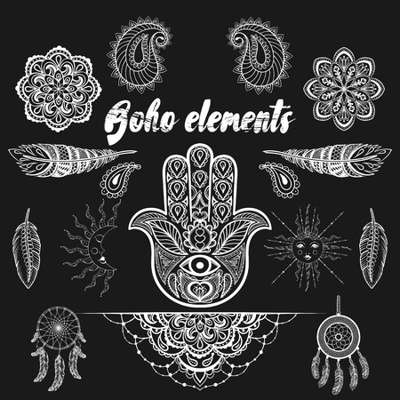symbol decorative: Vector bohemian ornamental elements, ethnic makhenda,  hand drawn boho tattoo design in doodle style. Zentangle patterned illustration isolated on black background. Henna spirituality.