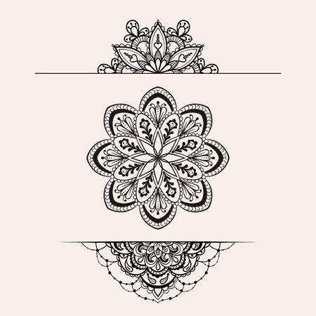 ベクトル ヘナ民族マンダラ セット、落書きスタイルで自由奔放に生きるレース タトゥーのデザインを makhenda。装飾的な部族は、ぬりえのイラスト