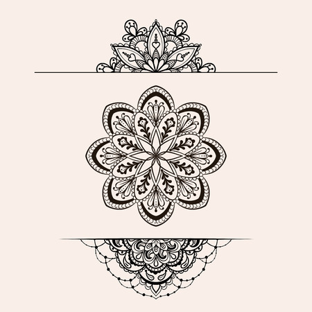 Vector henna ethnic mandala set, makhenda boho lace tattoo design in doodle style. Ornamental tribal patterned illustration for coloring page. Hand drawn zentangle sketch isolated on background. Vettoriali