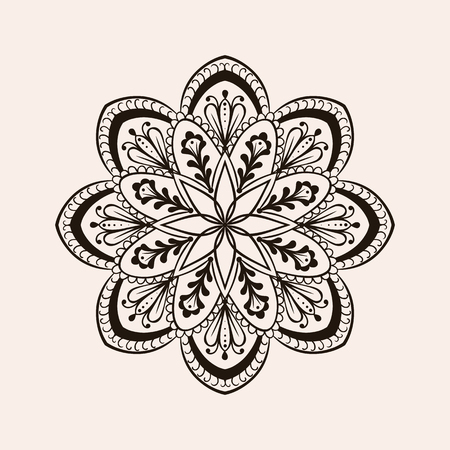 tattoo traditional: Vector henna ethnic mandala, boho tattoo design in doodle style. Ornamental tribal patterned illustration for adult anti stress coloring pages. Hand drawn zentangle sketch isolated on background. Illustration