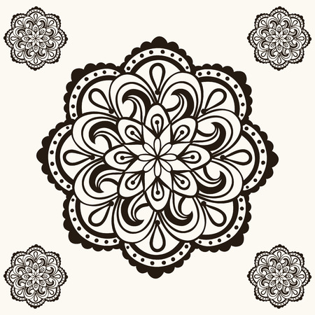 Vector Henna Mandalas Boho Tattoo Design In Doodle Style
