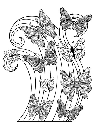 Zentangle vector flying Butterflies for adult anti stress coloring pages in doodle style. Ornamental tribal patterned illustration for tattoos, posters or prints decoration. Hand drawn sketch.  A4 size.