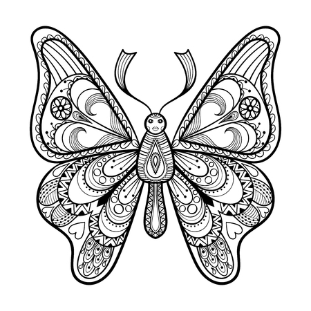 butterfly in hand: Zentangle vector black Butterfly for adult anti stress coloring pages in doodle style. Ornamental tribal patterned illustration for tattoos, posters or prints. Hand drawn monochrome sketch. Insect collection.