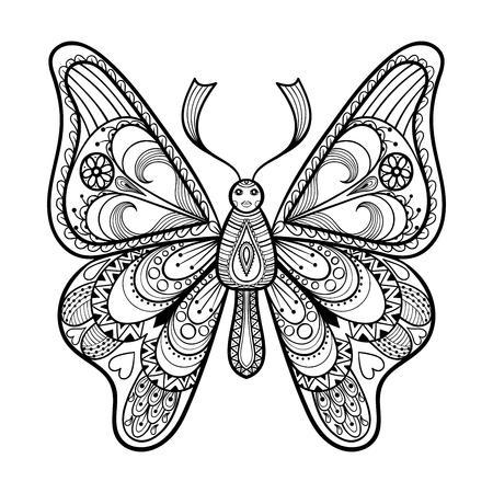farfalla tatuaggio: Zentangle vettore farfalla nera per adulti anti stress da colorare pagine in stile Doodle. Ornamentale illustrazione fantasia tribale per i tatuaggi, manifesti o stampe. Abbozzo disegnato a mano in bianco e nero. collezione di insetti.