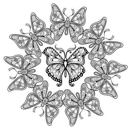 anti stress: Zentangle vector circle of flying Butterflies for adult anti stress coloring pages in doodle style. Ornamental tribal patterned illustration for tattoos, posters or prints decoration. Hand drawn sketch. Illustration