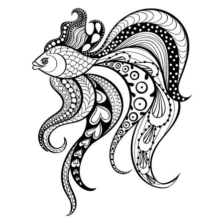 pez dorado: Zentangle vector de los pescados del oro por un tatuaje en boho, estilo inconformista. Ornamental ilustración con dibujos tribales para las páginas para colorear adulto Anti estrés. Dibujado a mano aislado dibujo negro. recogida de animales de mar.