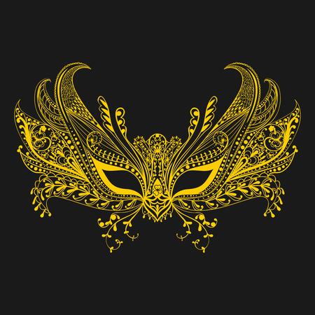 Carnaval gezichtsmasker in zentanglestijl. Symbool van Venetië. Lacy dunne handwerk masker. Vector illustratie.