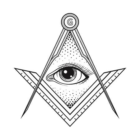 ojo de horus: cuadrado masónico y el símbolo del compás con todo el ojo que ve, masón sagrado emblema de la sociedad para el arte del diseño del tatuaje. ilustración del vector. El ocultismo, la religión y la espiritualidad signo de vectores.