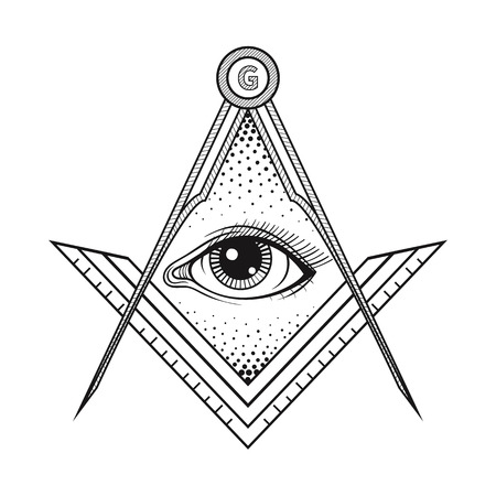 new world order: Masonic square and compass symbol with All seeing eye , Freemason sacred society emblem for tattoo design art. Isolated vector illustration. Occultism, religion and spirituality vector sign.