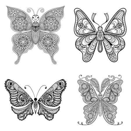 Zentangle vector black Butterflies set  for adult anti stress coloring pages in doodle style. Ornamental tribal patterned illustration for tattoos, posters or prints decoration. Hand drawn sketch.