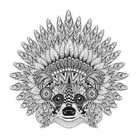 bonnet illustration: Hand Drawn Raccoon in Feathered War bonnet in zentangle style, high datailed headdress for Indian Chief. American boho spirit. Hand drawn sketch vector illustration for tattoos.