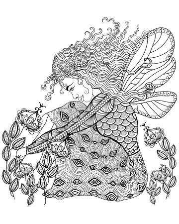 fata della foresta con le ali in fiore per adulti antistress colorare con dettagli elevati isolato su sfondo bianco, illustrazione in stile zentangle. Vettore in bianco e nero schizzo.