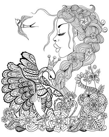 cisnes: hada del bosque con la guirnalda en la cabeza abrazando cisne en flor para colorear antiestrés con detalles altos aislados sobre fondo blanco, ilustración en estilo del zentangle. Ilustración monocromática del dibujo.