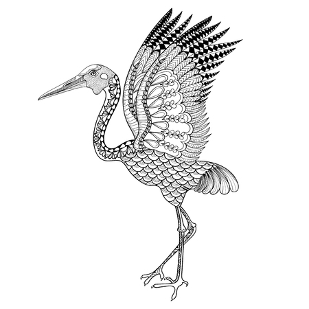 animal fauna: Hand drawn Brolga, Australian crane illustration for antistress Coloring Page with high details isolated on white background, in zentangle style. Vector monochrome sketch. Bird collection.