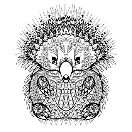 손으로 그린 에키드나, zentangle 스타일에 흰색 배경에 고립 된 높은 세부 안티 스트레스 색칠 페이지 호주 동물 그림. 벡터 흑백 스케치.