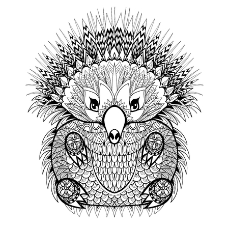 boho: Hand drawn Echidna, Australian animal illustration for antistress Coloring Page with high details isolated on white background, in zentangle style. Vector monochrome sketch.