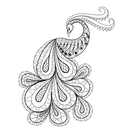 black and white line drawing: Hand drawn peacock  for antistress Coloring Page with high details isolated on white background, illustration in zentangle style. Vector monochrome sketch. Bird collection.