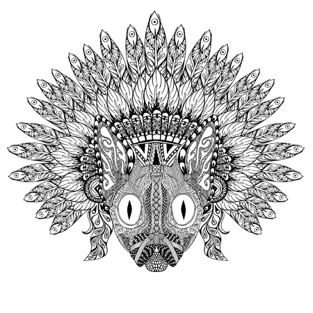 bonnet: Hand Drawn Cat in Feathered War bonnet in zentangle style, high datailed headdress for Indian Chief. American boho spirit. Hand drawn sketch vector illustration for tattoos. Illustration