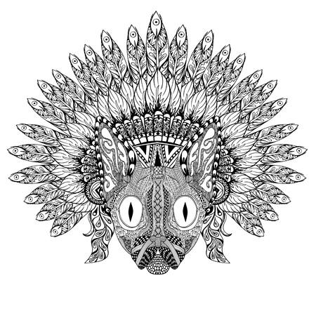 wojenne: Ręcznie rysowane Kot w masce Pierzasty wojny w zentangle stylu, wysokiej datailed nakrycia głowy dla Indian Chief. American Spirit boho. Ręcznie rysowane szkic ilustracji wektorowych dla tatuaży. Ilustracja