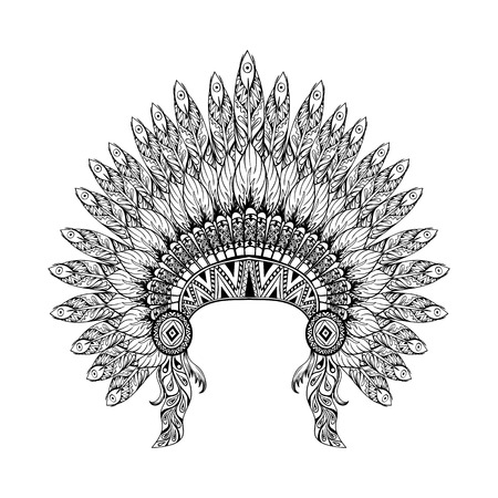 Hand Drawn Feathered War bonnet in zentangle style, high datailed headdress for Indian Chief. American boho spirit. Hand drawn sketch vector illustration for tattoos.