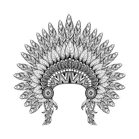 wojenne: Wyciągnąć rękę Pierzasty War Bonnet w zentangle stylu, wysokiej datailed nakrycia głowy dla Indian Chief. American Spirit boho. Ręcznie rysowane szkic ilustracji wektorowych dla tatuaży.