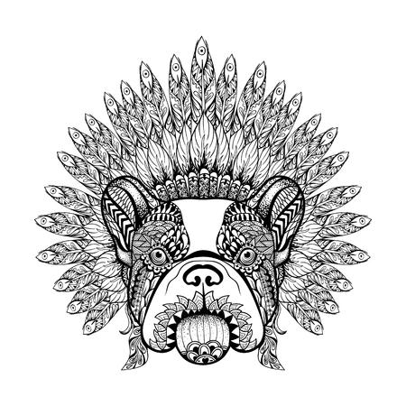 frances: Dibujados a mano de Bulldog Francés en capo Guerra Emplumada en el estilo del zentangle, tocado alto datailed de jefe indio. espíritu boho americano. Ilustración de la vendimia dibujo vectorial para los tatuajes, camiseta de impresión. Vectores
