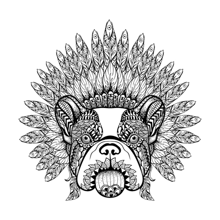 Hand Drawn French Bulldog in Feathered War bonnet in zentangle style, high datailed headdress for Indian Chief. American boho spirit. Vintage sketch vector illustration for tattoos, t-shirt print. Illustration