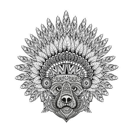 predators: Hand Drawn patterned Bear in zentangle style in  Feathered War bonnet, high datailed headdress for Indian Chief. American boho spirit. Vintage sketch, vector illustration for tattoos, t-shirt print.