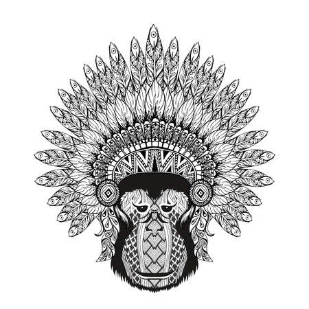 bonnet illustration: Hand Drawn patterned Monkey in zentangle style with Feathered War bonnet, high datailed headdress for Indian Chief. American boho spirit. Vintage sketch, vector illustration for tattoos, t-shirt print. Illustration