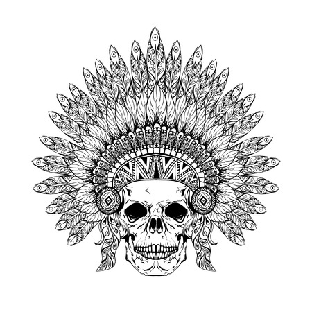 american native: Hand Drawn Skull in zentangle Feathered War bonnet, high datailed headdress for Indian Chief. American boho spirit. Vintage sketch, vector illustration for tattoos, t-shirt print.