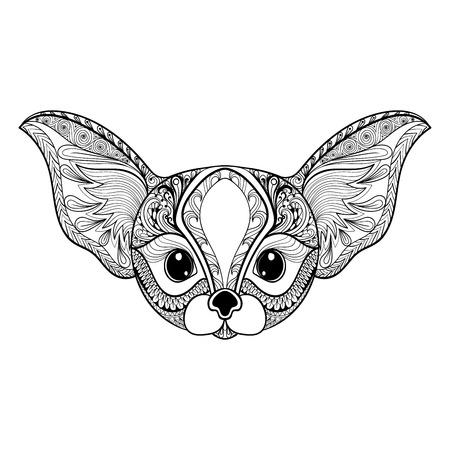 zorro: estilizada desierto Mini cara Fox zentangle. Mano vector dibujado aislado en el fondo blanco. �poca boceto para el dise�o de tatuaje o makhenda. colecci�n de arte animal. Vectores