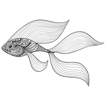 Zentangle stylized Gold Fish. Hand Drawn patterned vector illustration isolated on white background. Vintage sketch for tattoo design or makhenda. Sea art collection.