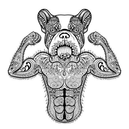 Zentangle には、ボディービルダーのような強いフレンチ ブルドッグが様式化されました。手描き下ろしスポーツ ベクトル イラスト白い背景に分離さ  イラスト・ベクター素材