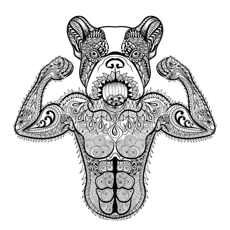 bodybuilding: Zentangle stylized strong French Bulldog like bodybuilder. Hand Drawn sport vector illustration isolated on white background. Vintage sketch for tattoo design or makhenda. Animal art collection. Illustration