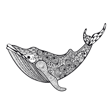 Zentangle stylized Sea Whale. Hand Drawn vector illustration isolated on white background. Sketch for tattoo design or makhenda. Sea art collection.