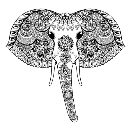 elephant head: Zentangle stylized Indian Elephant. Hand Drawn paisley vector illustration isolated on white background. Sketch for tattoo design or makhenda. Animal art collection.