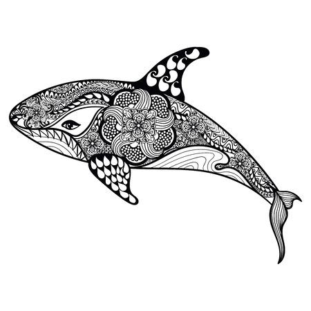 Zentangle には、海のサメが様式化されました。手描きの背景イラスト白い背景で隔離。タトゥーのデザインや makhenda をスケッチします。海のアート
