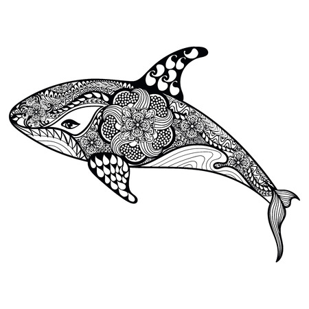 whale shark: Zentangle stylized Sea Shark. Hand Drawn vector illustration isolated on white background. Sketch for tattoo design or makhenda. Sea art collection.