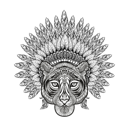 bonnet illustration: Hand Drawn patterned Tiger in zentangle style with Feathered War bonnet, high datailed headdress for Indian Chief. American boho spirit. Vintage sketch, vector illustration for tattoos, t-shirt print.